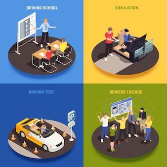 Rijschool isometrisch 2x2 ontwerpconcept met karakters van studenten, instructeurs, opleidingsvoertuig en illustratie van klaslokaalapparatuur