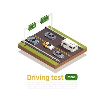 Rijschool isometrische compositie met bewerkbare tekst meer knop en afbeeldingen van snelweg met trainingsvoertuig