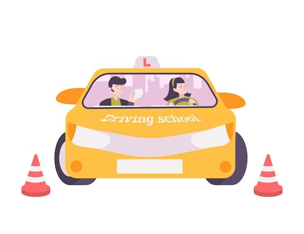 Rijschool platte compositie met verwarde vrouwelijke chauffeur en instructeur