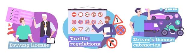 Rijschool set met verkeersregels symbolen platte geïsoleerde illustraties Gratis Vector