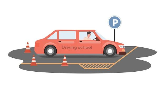 Rijschool vlakke afbeelding man auto rijden en voorbereiden