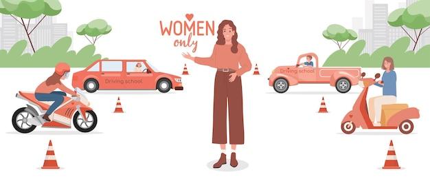 Rijschool voor vrouwen alleen platte bannerontwerp vrouwen