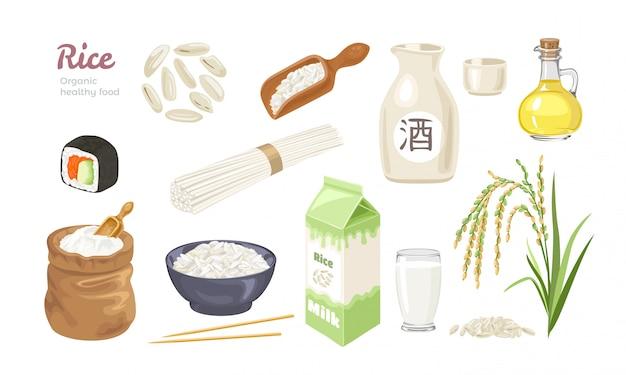 Rijst eten collectie.