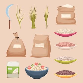Rijst korrelig. opslagzakken rijstproducten korrelige landbouwvoedsel vectorillustraties in cartoon-stijl. rijstproduct, voedselopslaggraan in zakjute