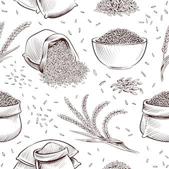 Rijst naadloos patroon. hand getrokken kom met rijstkorrels en paddy oren japanse textuur