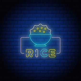 Rijst neonreclames stijl tekstontwerp met bakstenen muur.