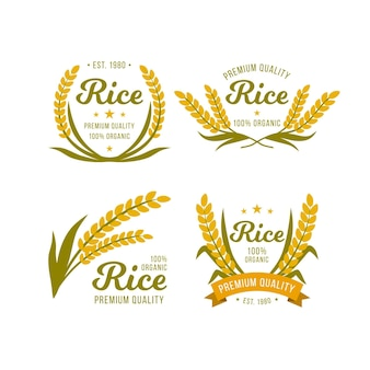 Rijst premium kwaliteit logo sjabloon