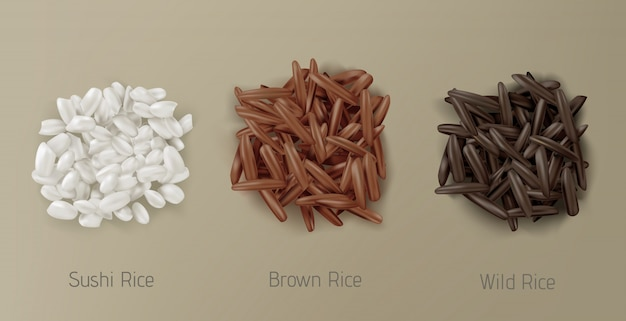 Rijst sushi, bruin en wild graan stapels bovenaanzicht