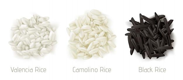 Rijst valencia, camolino, wilde graan stapel bovenaanzicht