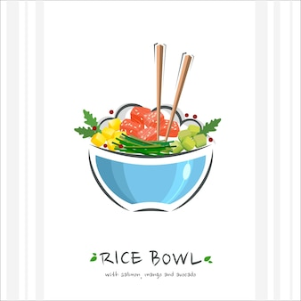Rijstkom met tonijn, zalm, mango en avocado illustratie