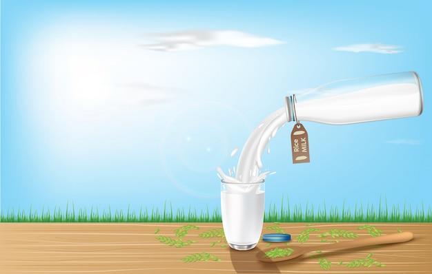 Rijstmelk in flessen en glazen geplaatst op houten planken. natuurlijke gezonde veganistische producten. 3d-afbeelding