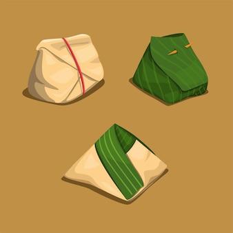 Rijstomslag in bananenblad en papiercollectie