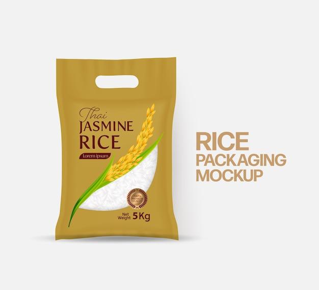 Rijstpakket mockup thailand voedselproducten illustratie