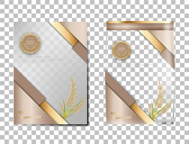 Rijstpakket thailand voedselproducten, bruin goud spandoek en poster sjabloon vector ontwerp rijst.