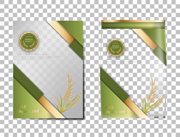 Rijstpakket thailand voedselproducten, groene gouden banner en poster sjabloon vector ontwerp rijst.
