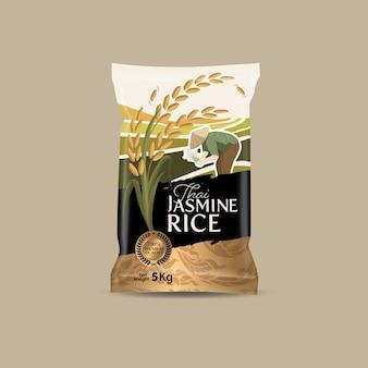 Rijstpakket thailand voedselproducten, illustratie