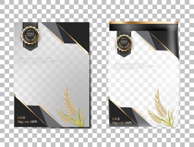 Rijstpakket thailand voedselproducten, zwart goud spandoek en poster sjabloon vector ontwerp rijst.