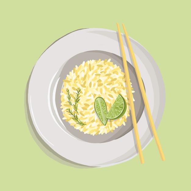 Rijstpilaf met kurkumapoeder, rozemarijn, limoen en eetstokjes op witte plaat. realistische schotelillustratie