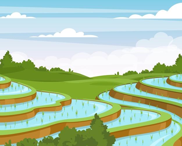 Rijstplantage vlakke afbeelding. aziatische landelijke weide en heuvels cartoon landschap.