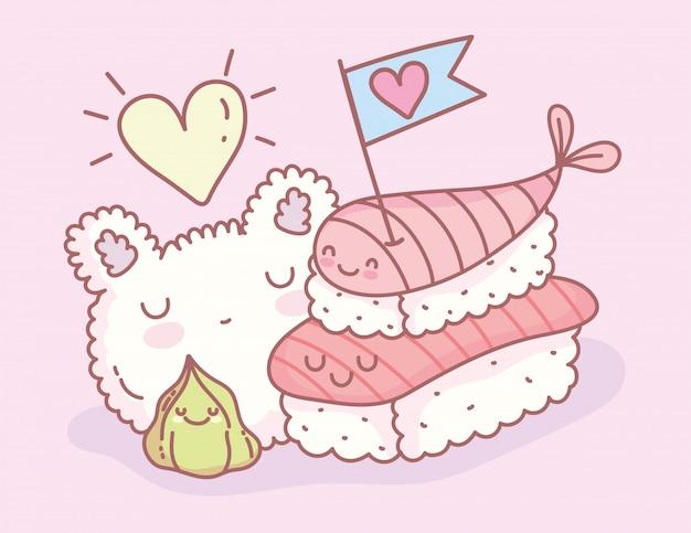 Rijstvorm sushi en wasabi menu restaurant cartoon eten schattig
