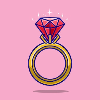 Ring diamant cartoon geïsoleerd op roze achtergrond.