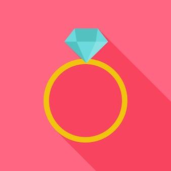 Ring met grote diamant. plat gestileerd object met lange schaduw