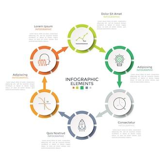 Ringvormig diagram met 6 papieren witte cirkelvormige elementen verbonden door pijlen. moderne infographic ontwerpsjabloon. vectorillustratie voor visualisatie van productiecyclusstappen, cyclische procesgrafiek.