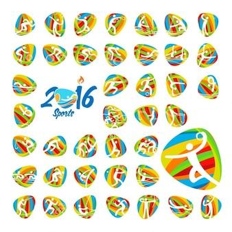 Rio 2016 olympische zomerspelen sport iconen set