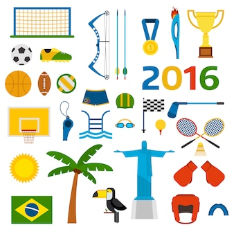 Rio zomer olympische spelen iconen vectorillustratie