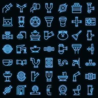 Riolering pictogrammen instellen vector neon