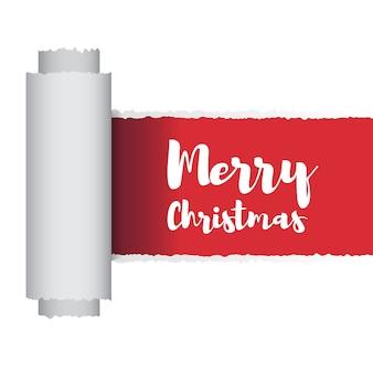 Rip papier vrolijk kerstfeest