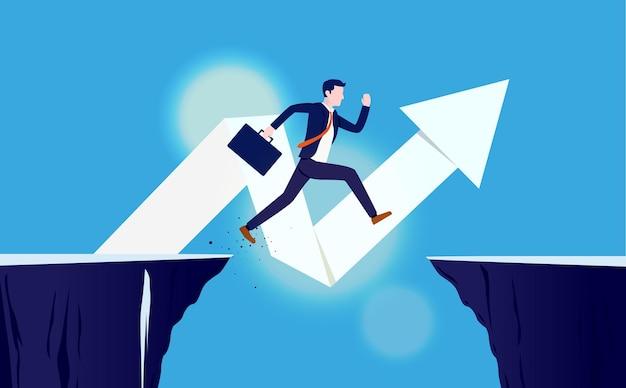 Risico en beloning. zakenman die over hiaat springt om succes te bereiken