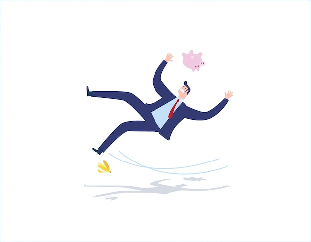 Risico en mis zakelijke mensen concept vector platte ontwerp illustratie achtergrond. zakenman die op een banaanschil uitglijden