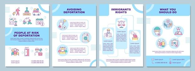 Risico van deportatie brochure sjabloon. vermijd vertrek. flyer, boekje, folder afdrukken, omslagontwerp met lineaire pictogrammen. vectorlay-outs voor presentatie, jaarverslagen, advertentiepagina's