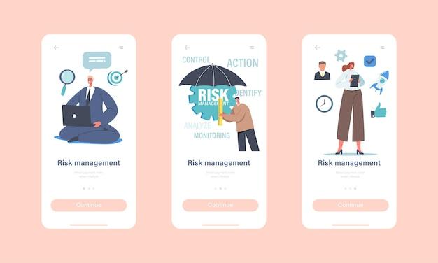 Risicobeheer mobiele app-pagina aan boord van schermsjabloon. zakenman met paraplu, werkgroepkarakter toegeven, identificeren, meten, bedrijfsstrategie implementeren concept. cartoon mensen vectorillustratie