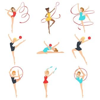 Ritmische gymnasten trainen met verschillende apparaten