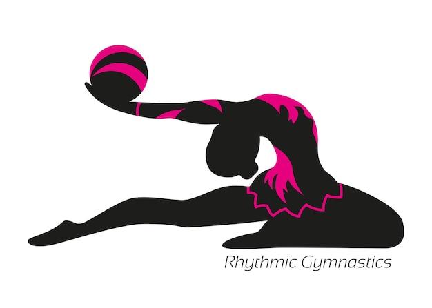 Ritmische gymnastiek. oefening met een bal. het silhouet van een atleet.