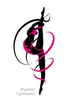 Ritmische gymnastiek. oefening met een lint. het silhouet van een atleet.