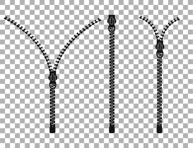 Rits, gesloten en open zip-pictogrammen.