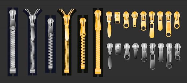 Rits set van goud en zilver metallic gesloten en open ritsen en trekkers realistische set geïsoleerd op zwarte achtergrond illustratie