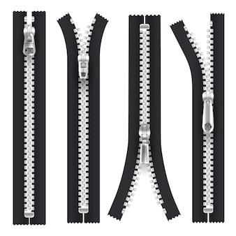 Ritsen met zilveren ritstrekker, open en gesloten geïsoleerde realistische kledingelementen. zwarte ritssluiting met metallic zilveren tanden en grendel, ritssluiting open met treksluiting, kleermakersaccessoire