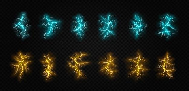 Ritsen van verschillende kleuren het effect van bliksem en verlichting set van bliksem