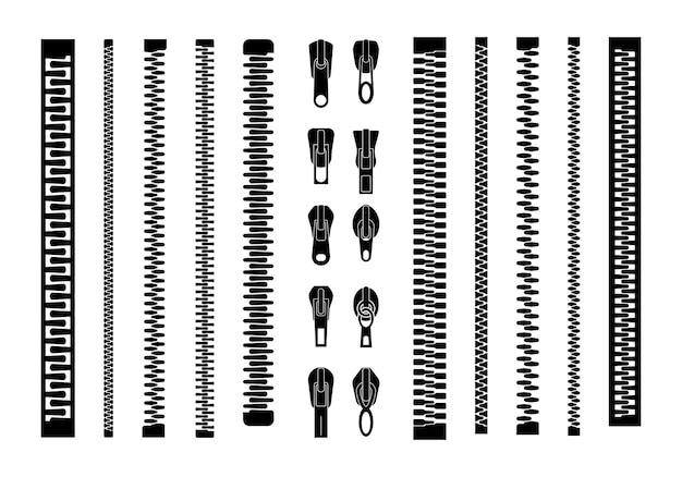Ritssluitingen of ritstrekkers, zwarte ritssluiting voorraadinzameling die op witte achtergrond wordt geïsoleerd. gesloten en open ritssluiting. set van verschillende bliksemschichten.