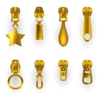 Ritstrekkers, gouden metalen ritssluitingen in verschillende vormen. ritstrekkers geïsoleerd, gouden metalen ritssluitingsschuifsluitingen in ster-, rechthoekige, druppel- en cirkelvorm, kledingaccessoire