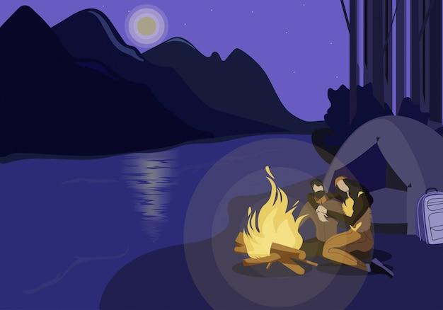 River bank camping illustratie