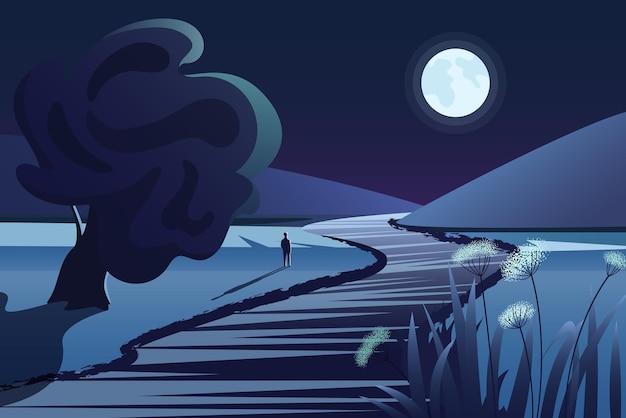 Rivier dichtbij bergen in het diepe landschap van de nacht landelijke aard met diepe maan en rivierreflecties