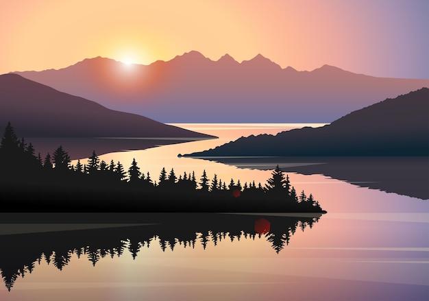 Rivierbos en bergen zonsopgang vector landschap prachtige natuur heuvels bomen in de ochtend