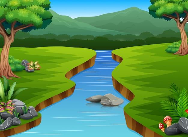 Riviercartoons in het midden mooie natuurlijke landschap
