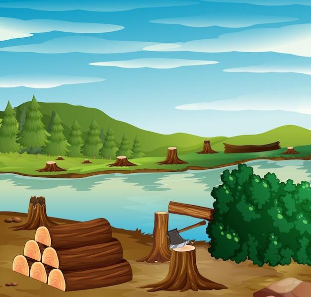 Riviergezicht met gekapt bos aan de oevers