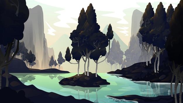 Rivierlandschap natuur illustratie